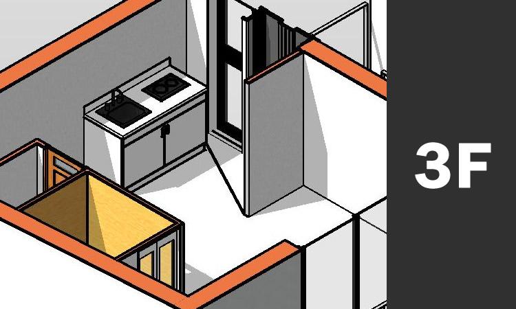CADで作成した3D画像 キッチン