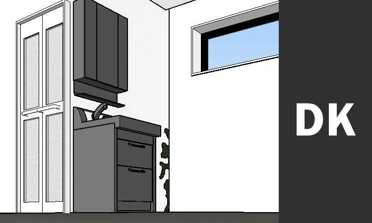 CADで作成した3D画像 内部キッチン拡大